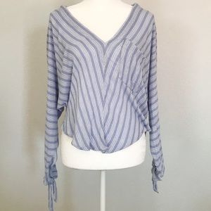 Free People Blue and White Striped woven top